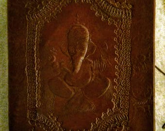 "9x6"" Ganesh embossed Leather Journal, Diary, Notebook, Guest Book, Sketch Book"