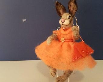 Needle felted doll bunny