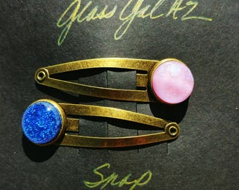 Dichroic Glass Snap Hair Clips Fused Glass Blue Pink Brass