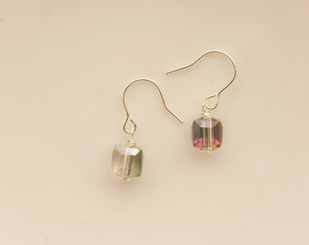 5 mm Cube Drop Earring ,Multi-Faceted Green AB Crystal Cube Earrings,Minimal Earrings, Glass Cube Earrings ,Sterling Silver plated Earrings