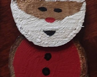Handcrafted Wood Santa Claus Christmas Ornament