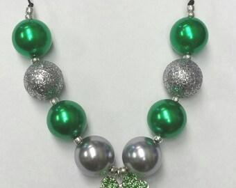 St. Patrick's Day Shamrock Bubblegum Necklace