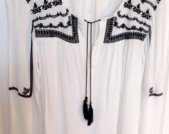 White Bohemian Black Detail Top