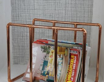 Newspaper rack, magazine rack, magazine rack in copper