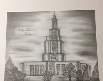 Original Idaho Falls LDS temple drawing