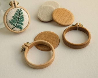 Kit NO laser Mini hoops embroidery frames - Premium hardwood: Maple, Cherry or Walnut - (MH33-X) - 33 mm