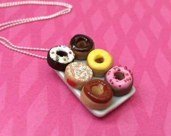 Donut Plate Pendant Necklace - polymer clay miniature food jewelry