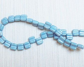 Luster Glass Czech two holed spacer beads
