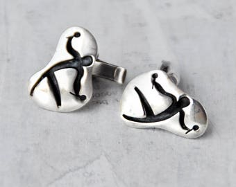 Vintage Sterling Silver Cufflinks - modernist man with maracas - abstract flamenco dancer figure  - gift for men