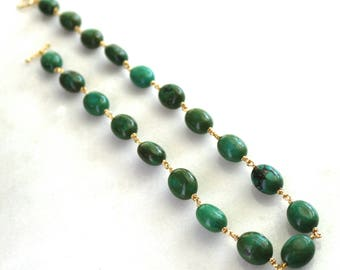 Green Turquoise, Gold Vermeil linked Simplicity Necklace