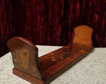 Antique Burled Walnut Inlaid Carved Wood Sliding Adjustable Book Stand Bookends