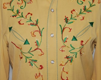 1940s California Ranchwear Western shirt Rockabilly Gabardine Embroidered cowboy SHIRT