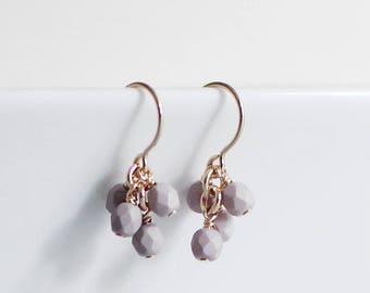 """14k goldfill earrings - """"lucky"""" faceted earrings in clay - handmade by elephantine"""
