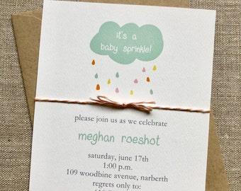 Gender neutral Baby sprinkle baby shower invitations baby shower cloud baby sprinkle invites printed