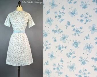 Butterfly Print Dress M L Vintage 60s Peter Pan Collar Novelty Shirtdress