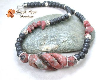 Rose Pink & Gray Gemstone Necklace, Sterling Silver, Rhodonite, Jasper, Hematite Stones, Earthy Jewelry, Unique Multicolor Necklace N283