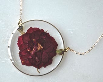 Dark Red Pressed Rose Necklace, Pressed Flower Necklace, Botanical Jewelry, 14k Gold Fill Chain
