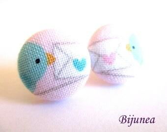 Bird earrings - Bird flower stud earrings - Bird blue flower studs - Bird post earrings sf1342
