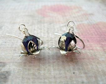 Purple Lotus Flower Earrings, Purple Lotus Blossom Earrings, Purple Flower Dangles, Tanzanite Crystal Drops, Lotus Blossom Earrings