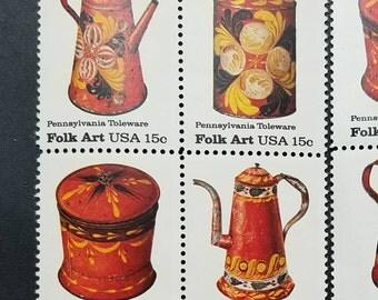 Vintage unused postage stamps - folk art stamps, 15 cent denomination (1.80 dollars total)