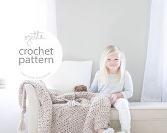 Crochet Pattern / Baby Blanket, Chunky Wool Throw, Toddler Afghan, With Tassels / THE LITTLE BARROW Blanket