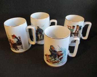Vintage Norman Rockwell 7 Ceramic Cups depicting the Sea