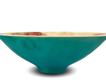The Blue- Handmade Box Elder Wood Bowl - Blue Bowl