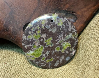 Natural Victorian Plum Blossom Jasper Round Coin Disc