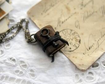 Remembrance - Miniature Wearable Book, Dark Brown, Tiny Vintage Key. OOAK