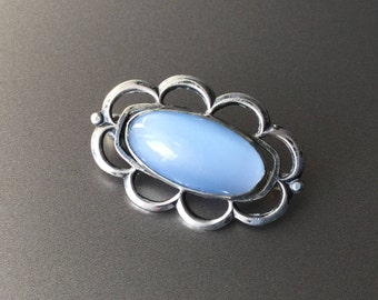 Sterling Silver and Opaline Glass Vintage Oval Brooch -
