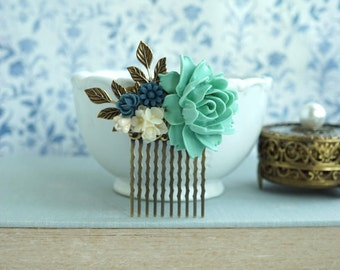 Navy Blue Rose Comb Blue Green Wedding Comb Blue Ivory Shade Floral Hair Comb Woodland Green Flower Hair Accessories Navy Blue Hair Piece