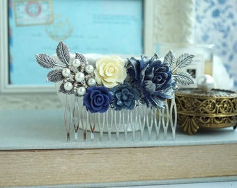 Navy Blue Flower Hair Comb Silver Plated Dusky Blue Rose Blue Wedding Comb Navy Blue Wedding Something Blue Wedding Silver Bridal Hair Comb