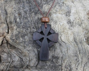 Celtic Wooden Cross Necklace, Celtic Irish Cross Pendant, Rosewood Cross Necklace For Men, Metal Free Necklace, Carved Wood Cross Pendant