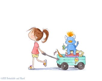 Monsters Are Lazy - Auburn Hair Girl and Blue Monster-  Art Print