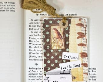 Collage Bookmark * gift tag* packaging * bird * collage * nature * journaling tags * altered art