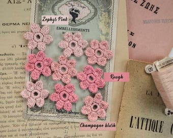 Crochet Flowers with 100% cotton yarn - French Vintage Style - Rouge - Champagne Blush - Zephyr Pink