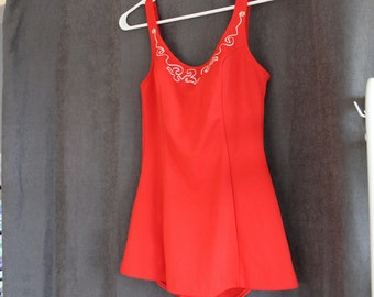 Vintage Swimsuit, Maillot de Bain, Maillot, Vintage Suit, Red One Piece Swimsuit, Small, 50s, Pinup, Pinup Girl, Orange Red, Swim Suit