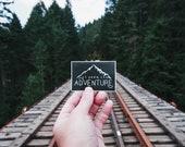 Seek Adventure - Mountain Sticker. Hiking Gear. Explore Laptop Sticker. Camping MacBook Decal. Vinyl Car Decal. Outdoorsy Bumper Sticker