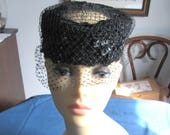 Vintage Veiled Black Pillbox Hat with Netting and Sequins Union Made in USA