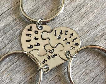 Gift For Mom, Gifts For Mom From Son, Mothers Day Gift, Personalized Mom Gift, Hand Stamped heart puzzle piece key chain set, mom with boys