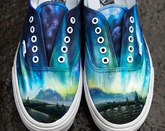Custom Vans Shoes - Hand Painted Alaska Aurora Borealis