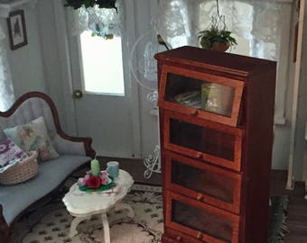 Miniature Bookcase With 4 Glass Doors and Drawer, Walnut Bookcase, Dollhouse Miniature Furniture, 1:12 Scale, Shelves, Display Cabinet