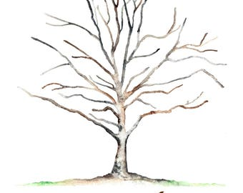 "x-Small 80th BD Jane Bartlett Sycamore Thumbprint Tree Guest Book Up to 125 guests 12""x16"" Watercolor 4 dew drop ink pads. 2 pens. dry mount"