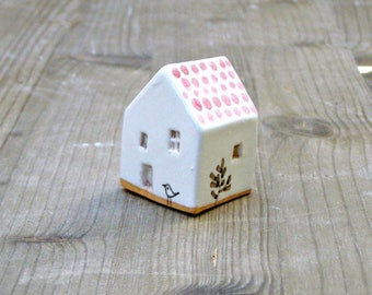 Tiny ceramic house with bird-white and pink house