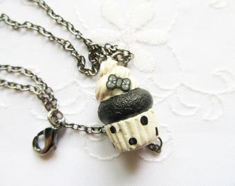 Black Cupcake Charm Necklace / Minimalist / Cupcake Necklace / Food Necklace / Cute Necklace / Polymer Clay / Polka Dots