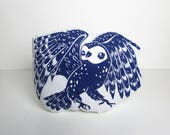 Plush Barn Owl Shaped Pillow. Choose ANY Color. Hand Woodblock Printed to Order. Takes 1 week to make.