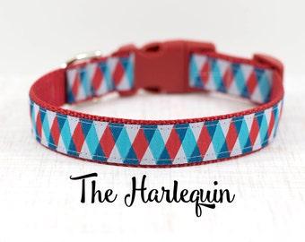 "Red Harlequin Dog Collar, Diamond Print Dog Collar, Geometric Collar, Harlequin Dog Collar, 1"" Wide, Buckle Collar or Martingale"