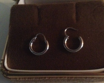 Petite 14kt White Gold Hoop Earrings