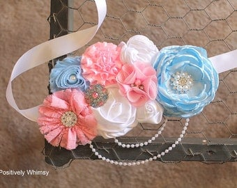 Pink Blue Sash, Gender Reveal Sash, Maternity Sash, Pregnancy Sash, Belly Sash, Maternity Belt, Baby Shower Sash, Pink, Blue White, RTS