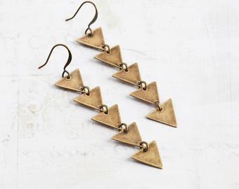 Long Antiqued Brass Five Triangle Dangle Earrings